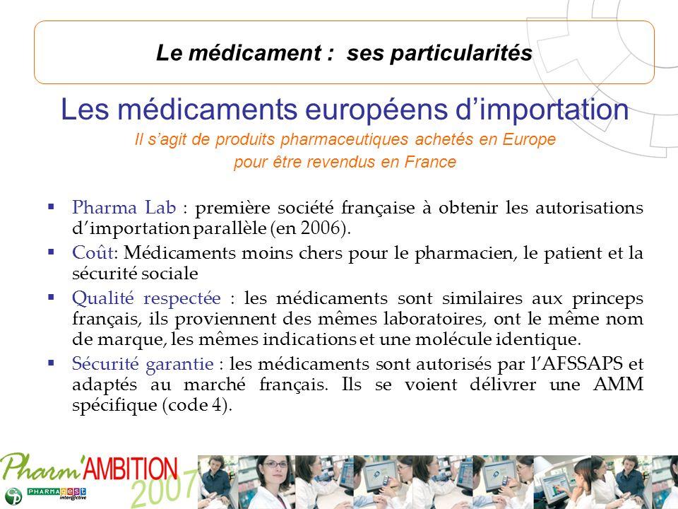 Pharm Ambition – Service Clients Avril 2007 Les médicaments européens dimportation Il sagit de produits pharmaceutiques achetés en Europe pour être re