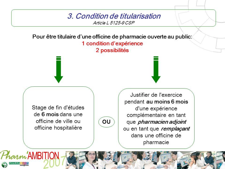 Pharm Ambition – Service Clients Avril 2007 3. Condition de titularisation Article L 5125-9 CSP Stage de fin d'études de 6 mois dans une officine de v