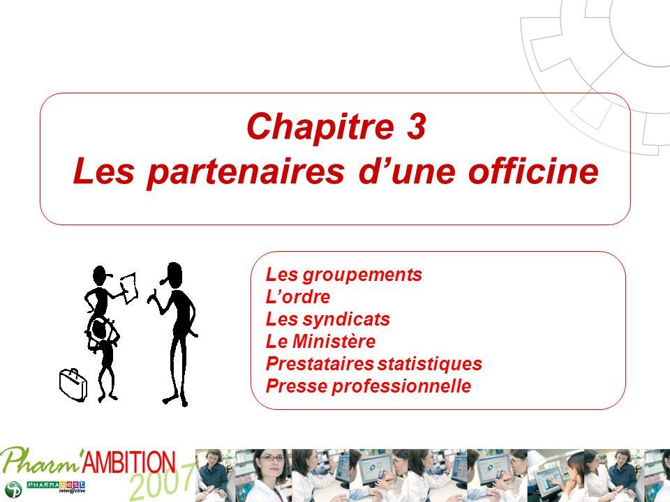Pharm Ambition – Service Clients Avril 2007 Chapitre 3 Les partenaires dune officine Les groupements Lordre Les syndicats Le Ministère Prestataires st