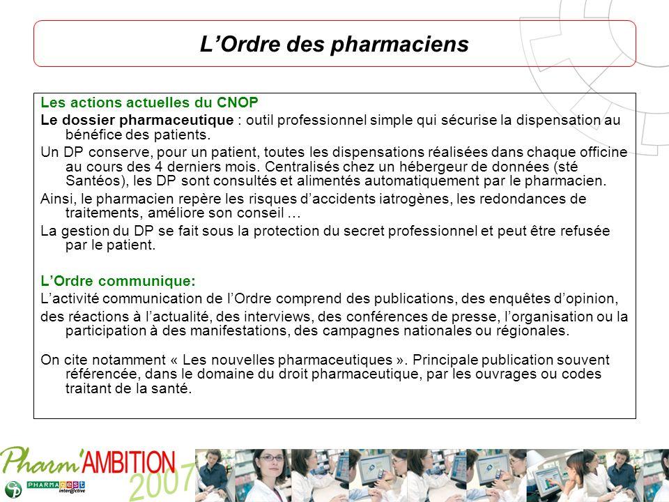 Pharm Ambition – Service Clients Avril 2007 Les actions actuelles du CNOP Le dossier pharmaceutique : outil professionnel simple qui sécurise la dispe