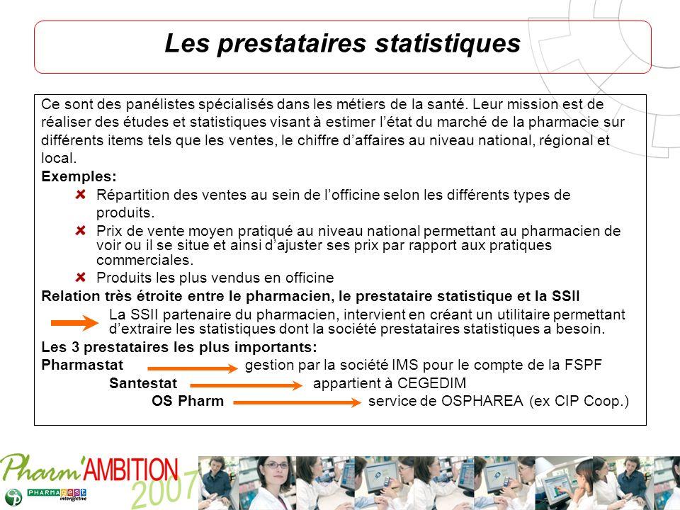 Pharm Ambition – Service Clients Avril 2007 Les prestataires statistiques Ce sont des panélistes spécialisés dans les métiers de la santé. Leur missio