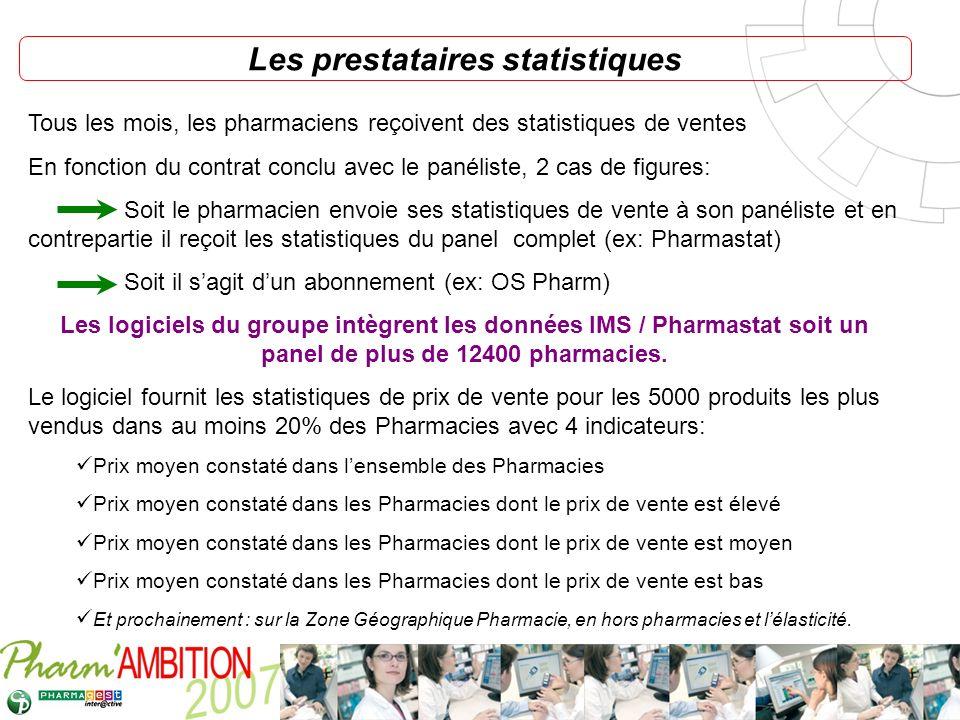 Pharm Ambition – Service Clients Avril 2007 Les prestataires statistiques Tous les mois, les pharmaciens reçoivent des statistiques de ventes En fonct