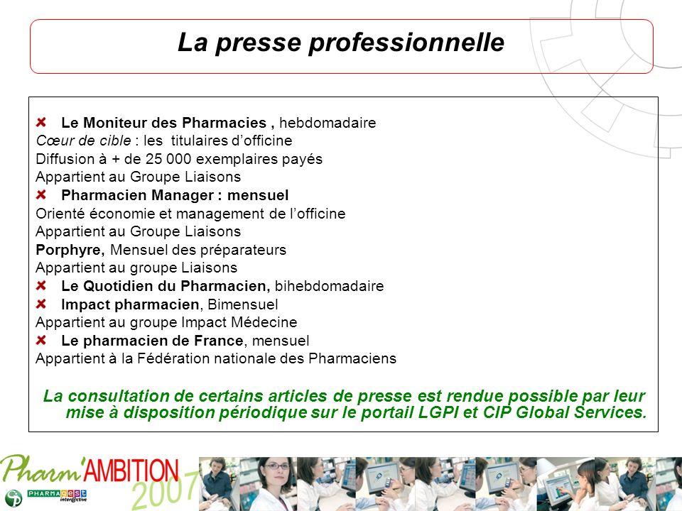 Pharm Ambition – Service Clients Avril 2007 La presse professionnelle Le Moniteur des Pharmacies, hebdomadaire Cœur de cible : les titulaires dofficin