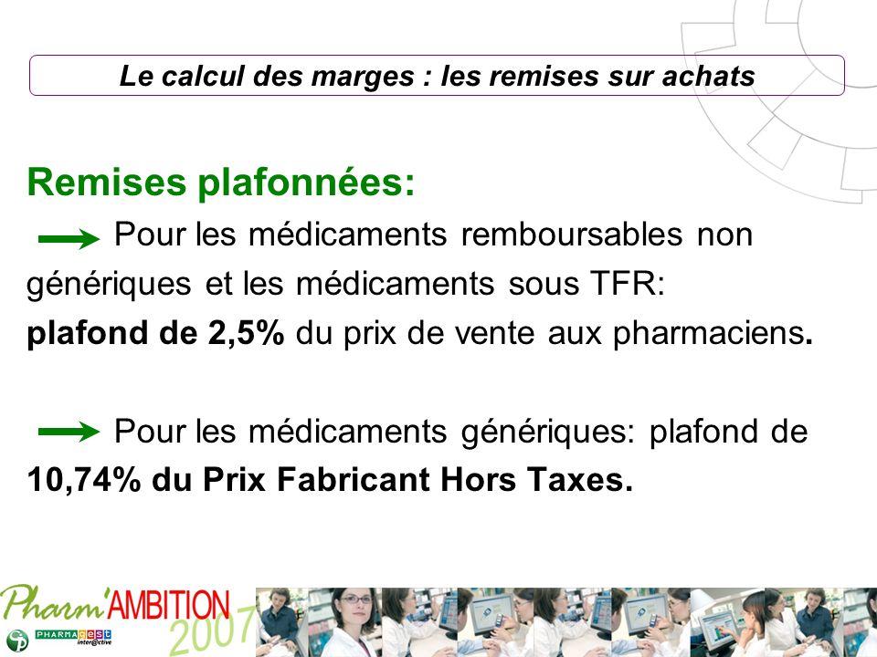 Pharm Ambition – Service Clients Avril 2007 Remises plafonnées: Pour les médicaments remboursables non génériques et les médicaments sous TFR: plafond