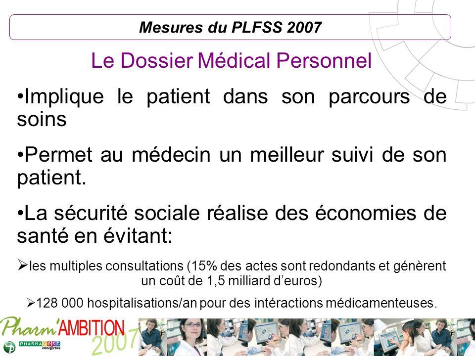 Pharm Ambition – Service Clients Avril 2007 Mesures du PLFSS 2007 Le Dossier Médical Personnel Implique le patient dans son parcours de soins Permet a
