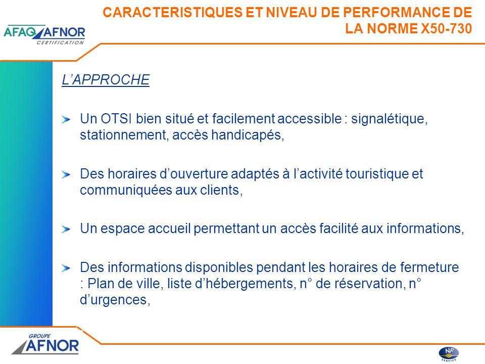 CARACTERISTIQUES ET NIVEAU DE PERFORMANCE DE LA NORME X50-730 LAPPROCHE Un OTSI bien situé et facilement accessible : signalétique, stationnement, acc