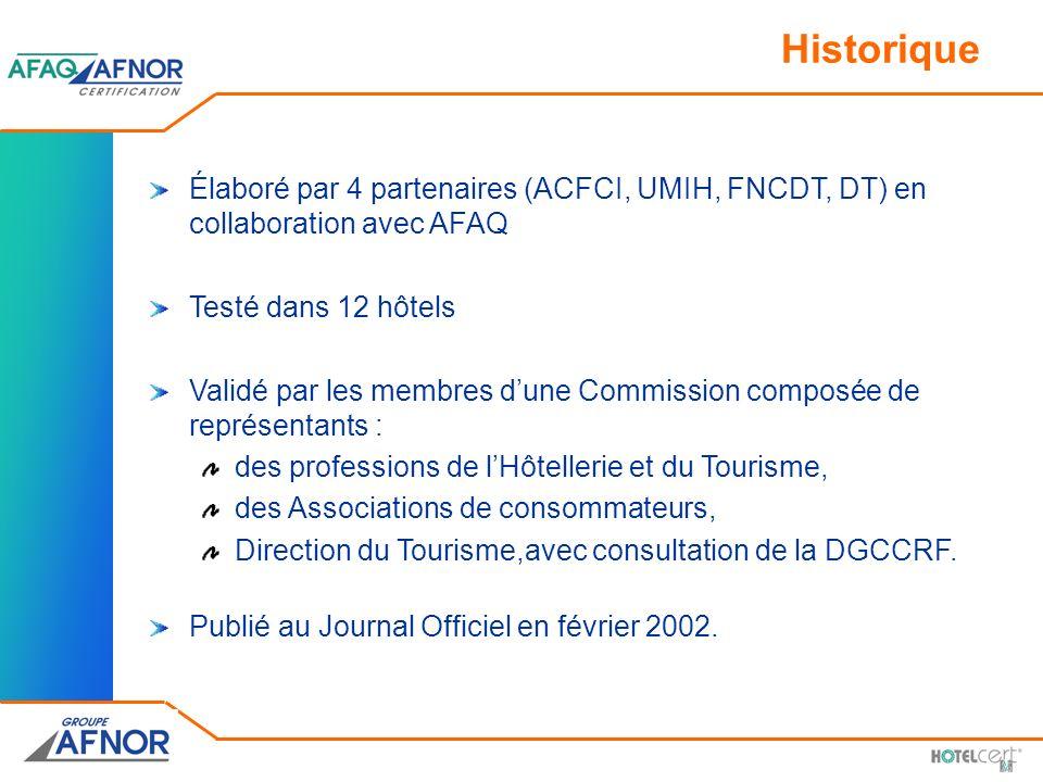 Historique Élaboré par 4 partenaires (ACFCI, UMIH, FNCDT, DT) en collaboration avec AFAQ Testé dans 12 hôtels Validé par les membres dune Commission c