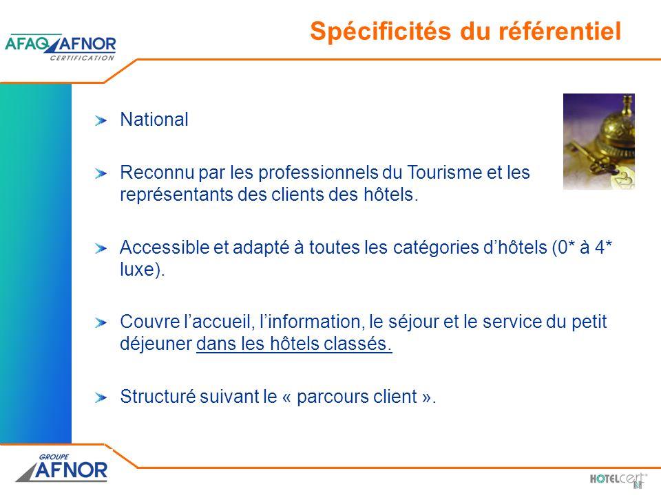 Spécificités du référentiel National Reconnu par les professionnels du Tourisme et les représentants des clients des hôtels. Accessible et adapté à to