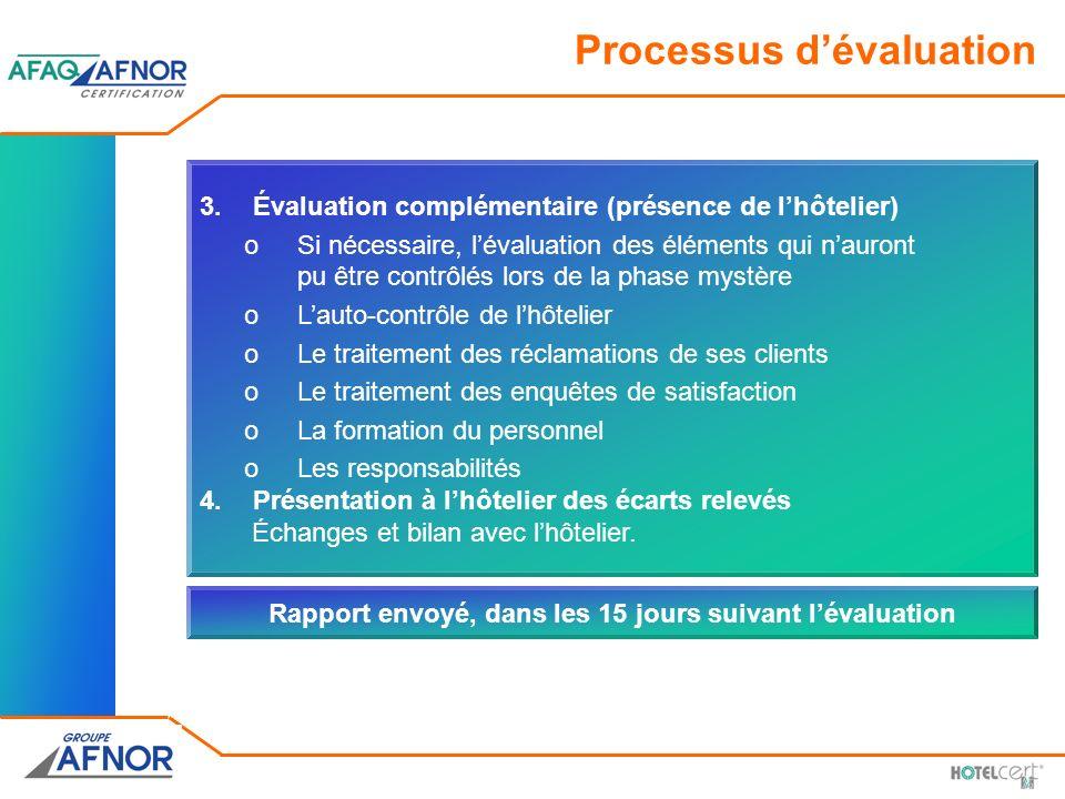 Processus dévaluation 3.Évaluation complémentaire (présence de lhôtelier) oSi nécessaire, lévaluation des éléments qui nauront pu être contrôlés lors