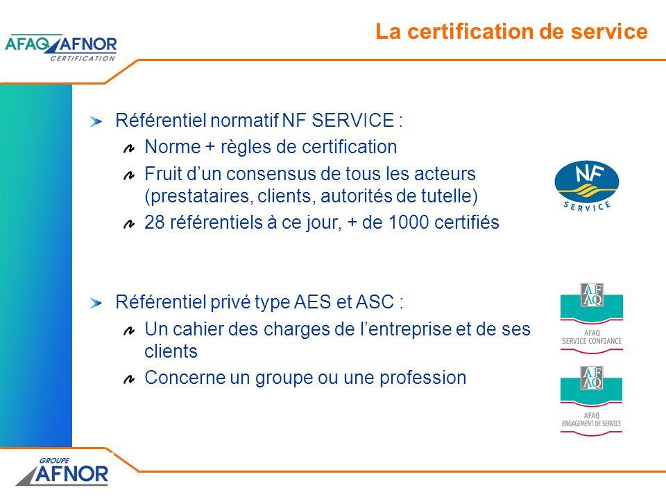 La certification de service Référentiel normatif NF SERVICE : Norme + règles de certification Fruit dun consensus de tous les acteurs (prestataires, c