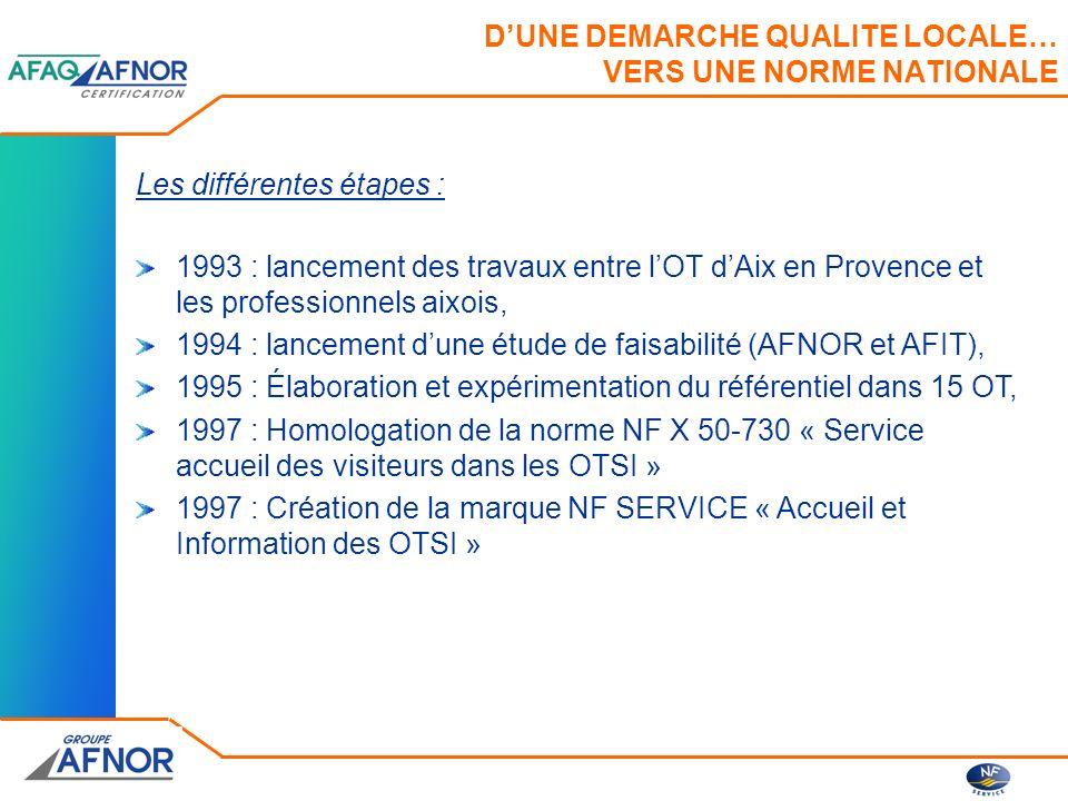 DUNE DEMARCHE QUALITE LOCALE… VERS UNE NORME NATIONALE Les différentes étapes : 1993 : lancement des travaux entre lOT dAix en Provence et les profess