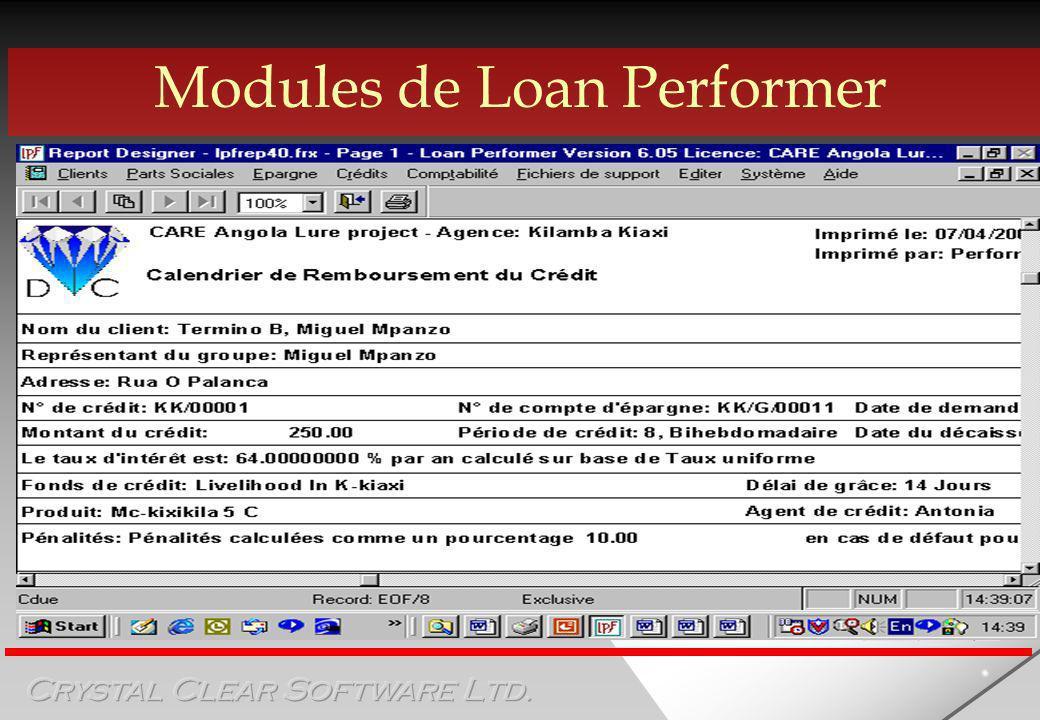 Modules de Loan Performer Module de crédit 2/3 Permet lintérêt à lavance ou déduit au décaissement.