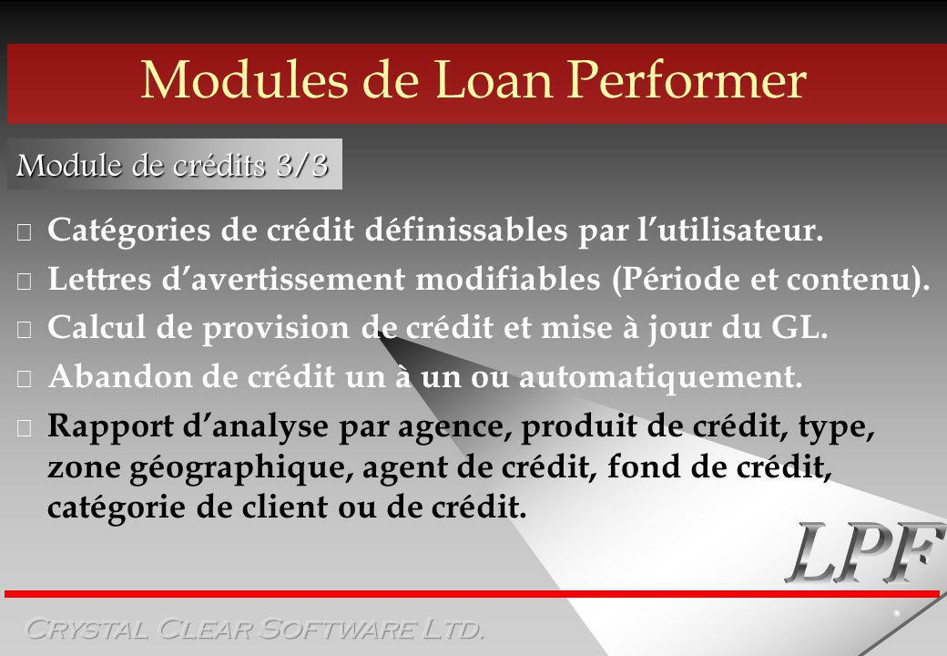 Modules de Loan Performer