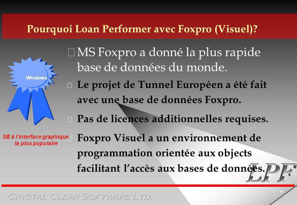 ˜ Le projet de Tunnel Européen a été fait avec une base de données Foxpro.