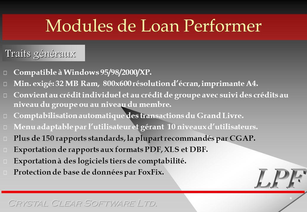 Modules de Loan Performer Traits généraux Compatible à Windows 95/98/2000/XP.