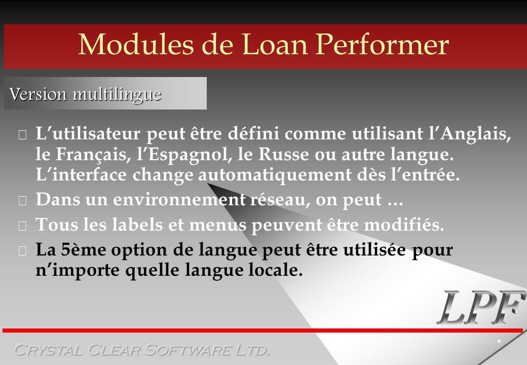 Modules de Loan Performer Version multilingue Lutilisateur peut être défini comme utilisant lAnglais, le Français, lEspagnol, le Russe ou autre langue.