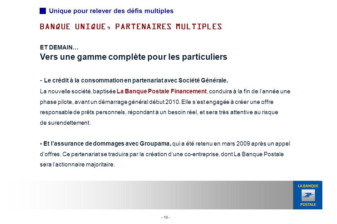 - 19 - ET DEMAIN… Vers une gamme complète pour les particuliers - Le crédit à la consommation en partenariat avec Société Générale.