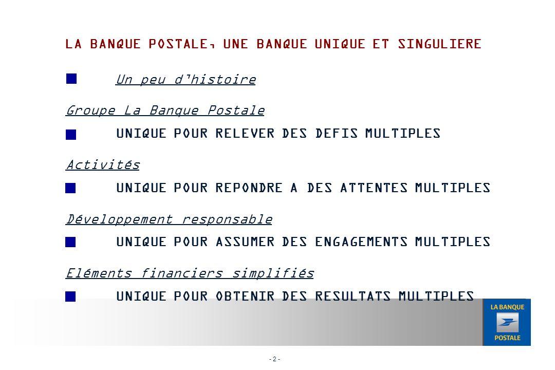 - 2 - Un peu dhistoire Groupe La Banque Postale UNIQUE POUR RELEVER DES DEFIS MULTIPLES Activités UNIQUE POUR REPONDRE A DES ATTENTES MULTIPLES Développement responsable UNIQUE POUR ASSUMER DES ENGAGEMENTS MULTIPLES Eléments financiers simplifiés UNIQUE POUR OBTENIR DES RESULTATS MULTIPLES LA BANQUE POSTALE, UNE BANQUE UNIQUE ET SINGULIERE