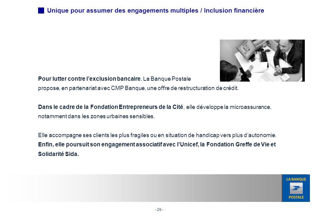 - 29 - Pour lutter contre lexclusion bancaire, La Banque Postale propose, en partenariat avec CMP Banque, une offre de restructuration de crédit.