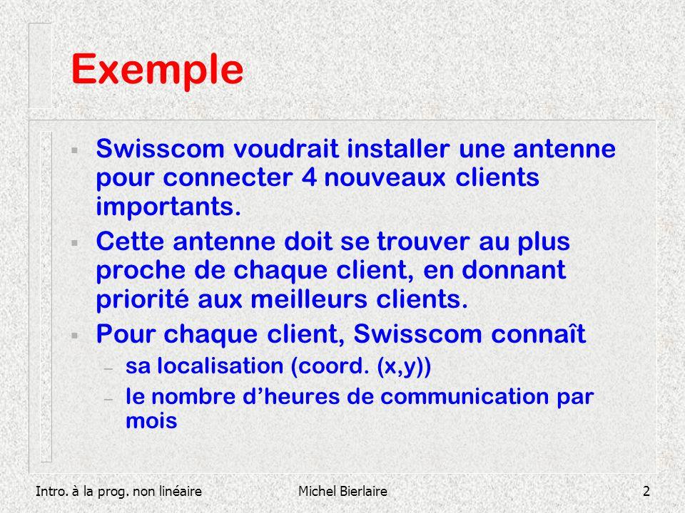 Intro. à la prog. non linéaireMichel Bierlaire2 Exemple Swisscom voudrait installer une antenne pour connecter 4 nouveaux clients importants. Cette an