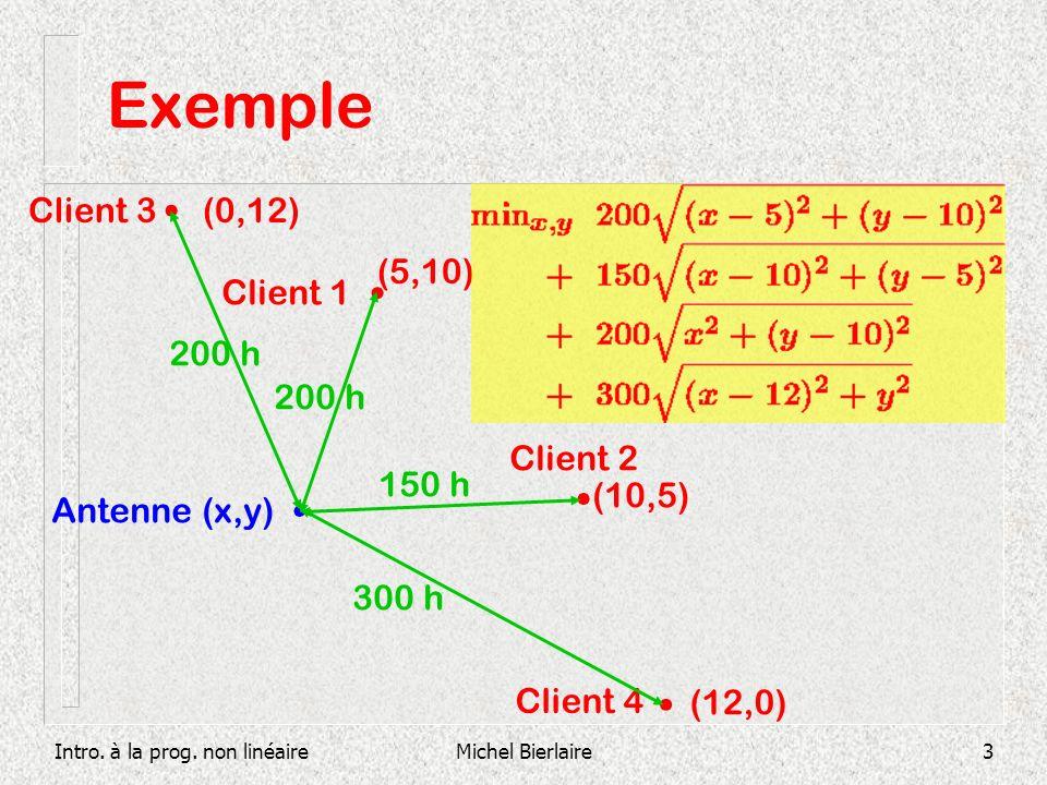 Intro. à la prog. non linéaireMichel Bierlaire3 Exemple Client 1 (5,10) Client 3 Client 2 Client 4 (12,0) (10,5) (0,12) Antenne (x,y) 200 h 150 h 300
