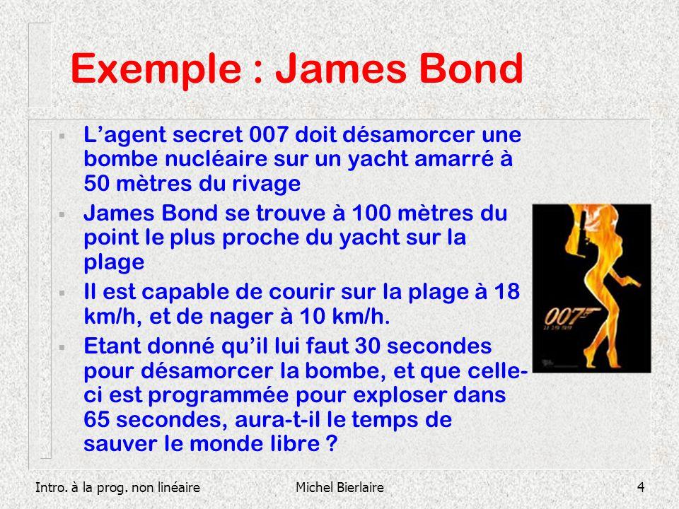 Intro. à la prog. non linéaireMichel Bierlaire4 Exemple : James Bond Lagent secret 007 doit désamorcer une bombe nucléaire sur un yacht amarré à 50 mè