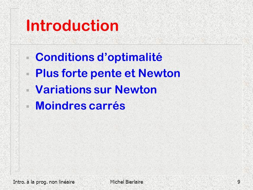 Intro. à la prog. non linéaireMichel Bierlaire9 Introduction Conditions doptimalité Plus forte pente et Newton Variations sur Newton Moindres carrés