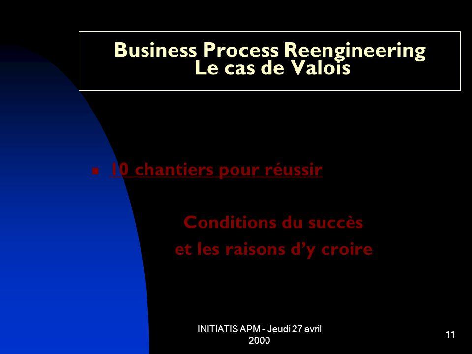 INITIATIS APM - Jeudi 27 avril 2000 11 Business Process Reengineering Le cas de Valois 10 chantiers pour réussir Conditions du succès et les raisons d