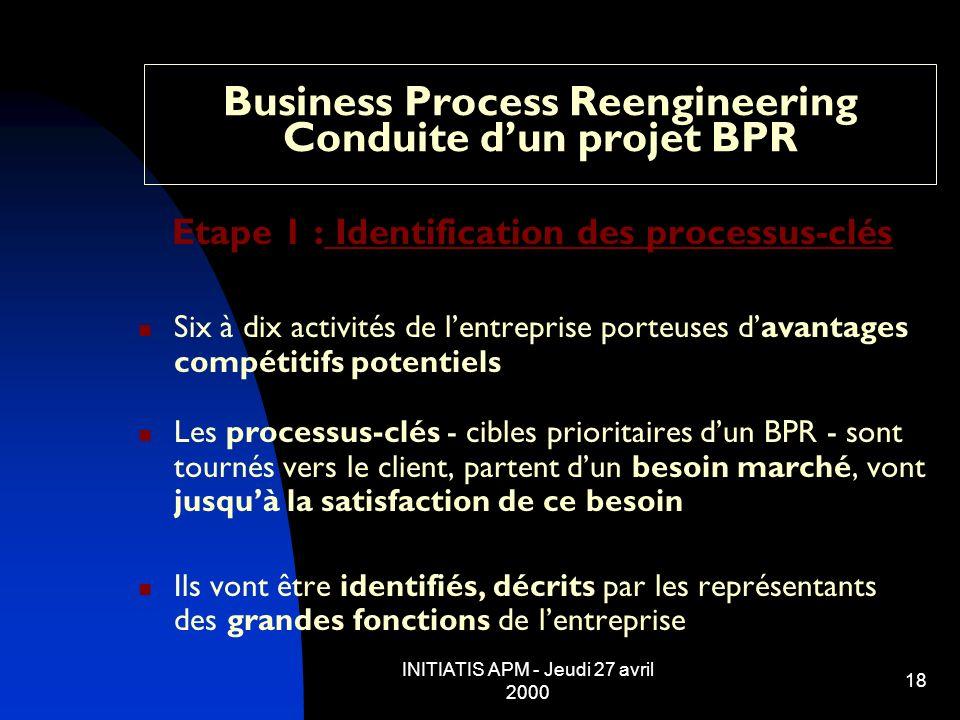 INITIATIS APM - Jeudi 27 avril 2000 18 Business Process Reengineering Conduite dun projet BPR Etape 1 : Identification des processus-clés Six à dix ac