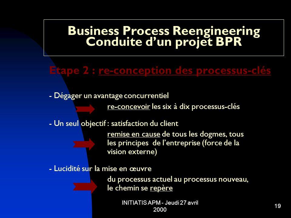 INITIATIS APM - Jeudi 27 avril 2000 19 Business Process Reengineering Conduite dun projet BPR Etape 2 : re-conception des processus-clés - Dégager un