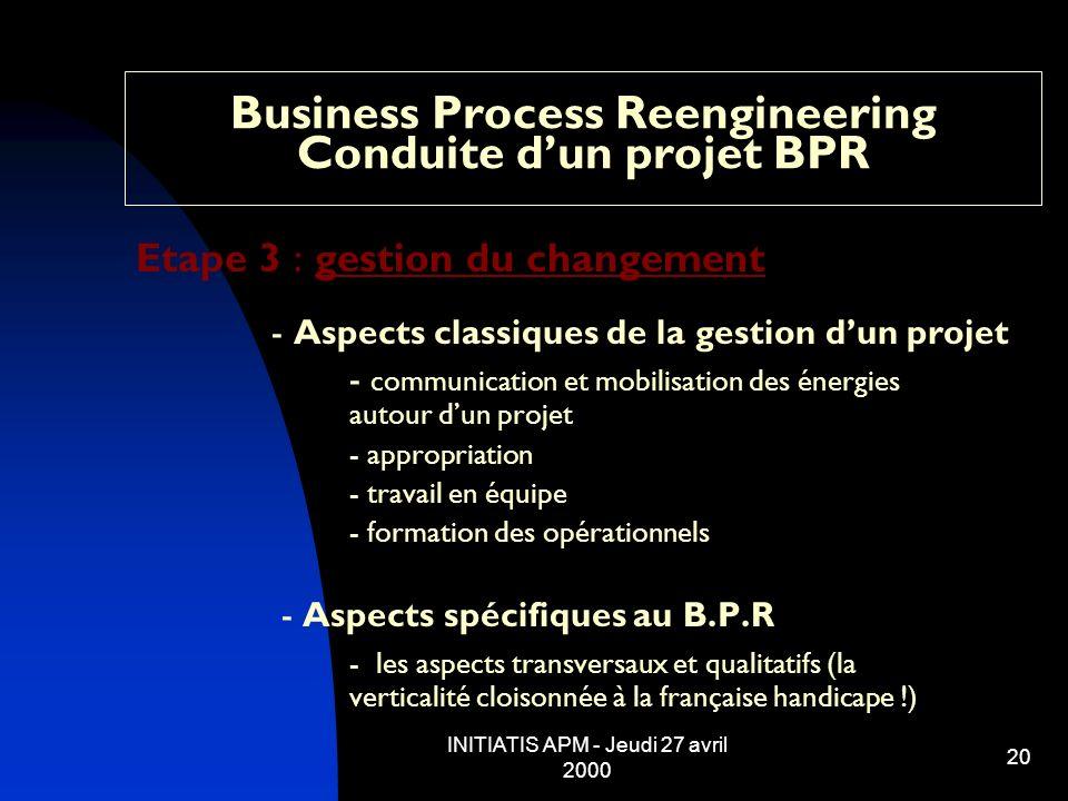 INITIATIS APM - Jeudi 27 avril 2000 20 Business Process Reengineering Conduite dun projet BPR Etape 3 : gestion du changement - Aspects classiques de