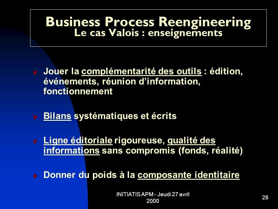 INITIATIS APM - Jeudi 27 avril 2000 28 Business Process Reengineering Le cas Valois : enseignements Jouer la complémentarité des outils : édition, évé