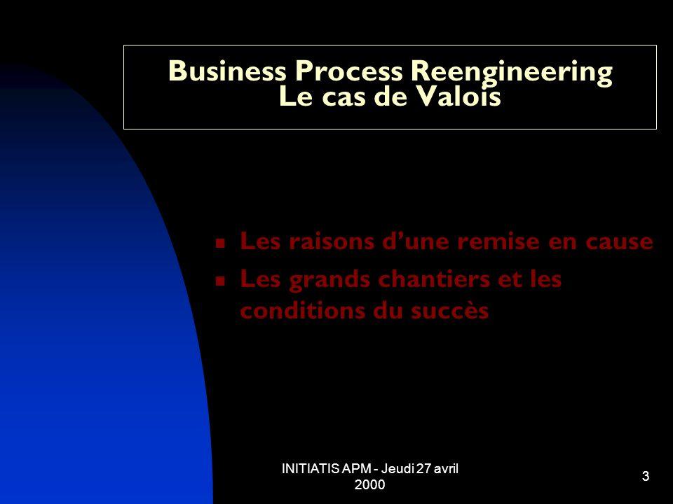 INITIATIS APM - Jeudi 27 avril 2000 14 Business Process Reengineering Le cas de Valois Conditions du succès : adapter les comportements - Volonté - engagement du plan indépendamment conjoncture - Gestion du temps - étapes planifiées (1996 = 60 %) - priorité à la levée des blocages - Culture de lengagement réciproque - composante humaine (compétences/accompagnement) - Astucieux et rigoureux - les raccourcis sans amateurisme