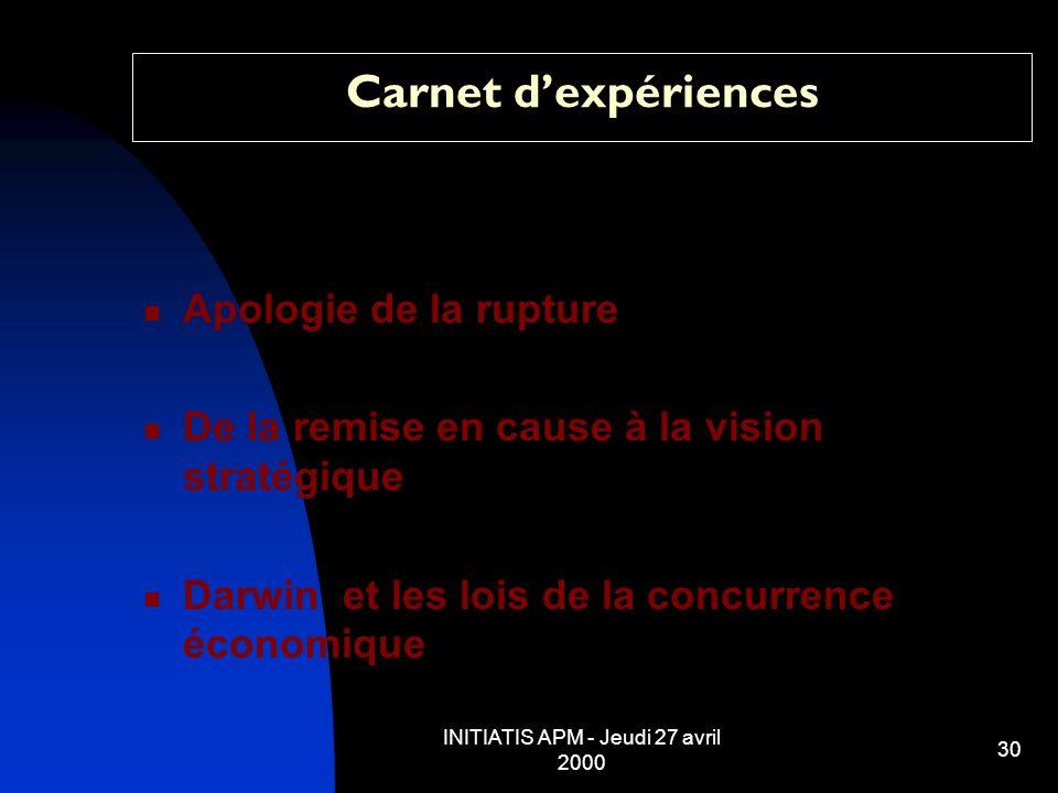 INITIATIS APM - Jeudi 27 avril 2000 30 Carnet dexpériences Apologie de la rupture De la remise en cause à la vision stratégique Darwin et les lois de