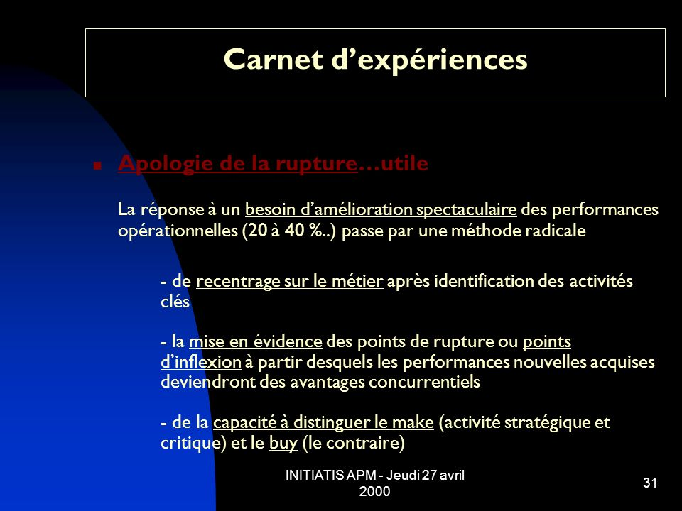 INITIATIS APM - Jeudi 27 avril 2000 31 Carnet dexpériences Apologie de la rupture…utile La réponse à un besoin damélioration spectaculaire des perform