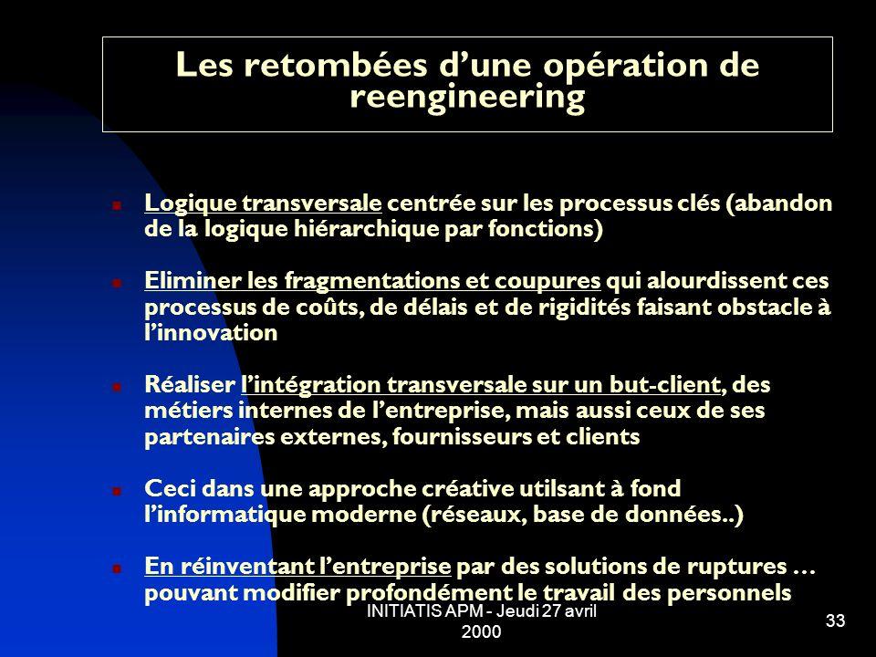 INITIATIS APM - Jeudi 27 avril 2000 33 Les retombées dune opération de reengineering Logique transversale centrée sur les processus clés (abandon de l