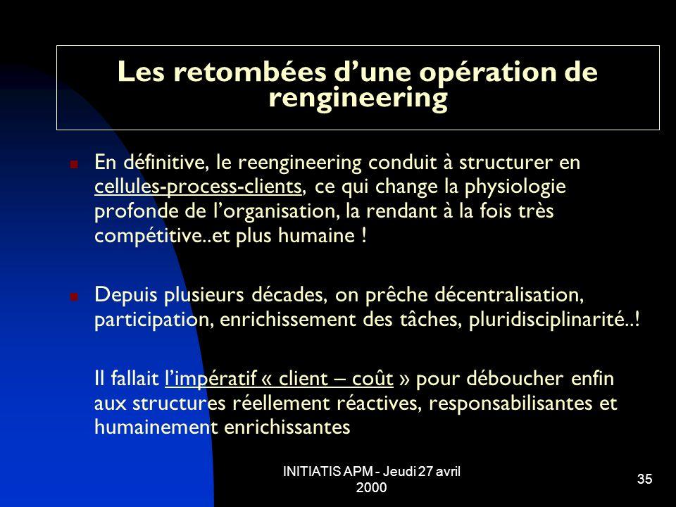 INITIATIS APM - Jeudi 27 avril 2000 35 Les retombées dune opération de rengineering En définitive, le reengineering conduit à structurer en cellules-p