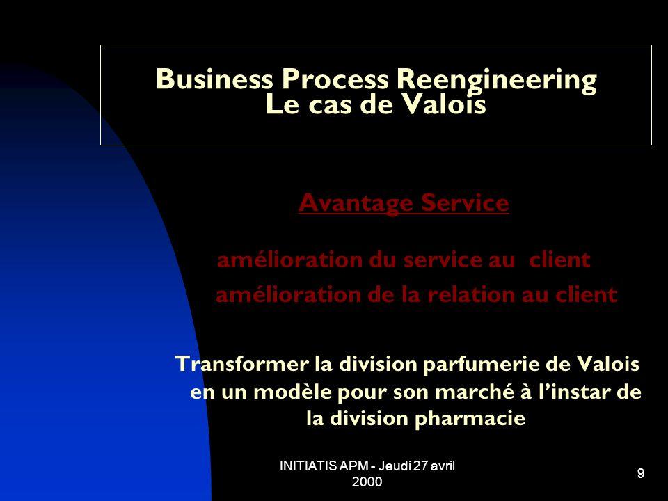 INITIATIS APM - Jeudi 27 avril 2000 9 Business Process Reengineering Le cas de Valois Avantage Service amélioration du service au client amélioration