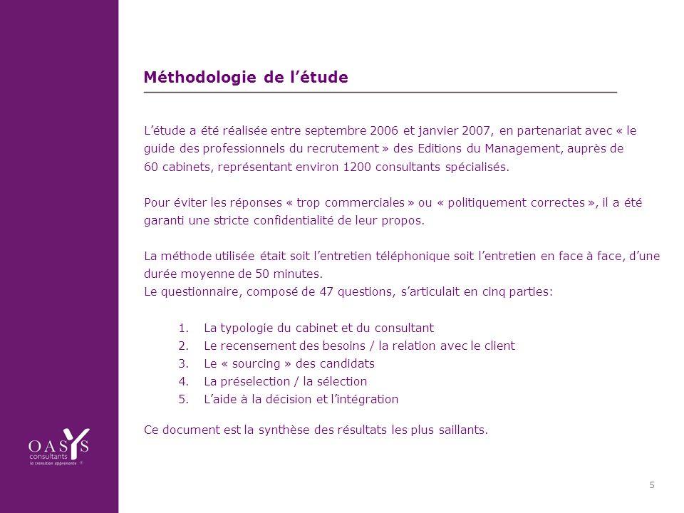 5 Méthodologie de létude Létude a été réalisée entre septembre 2006 et janvier 2007, en partenariat avec « le guide des professionnels du recrutement » des Editions du Management, auprès de 60 cabinets, représentant environ 1200 consultants spécialisés.