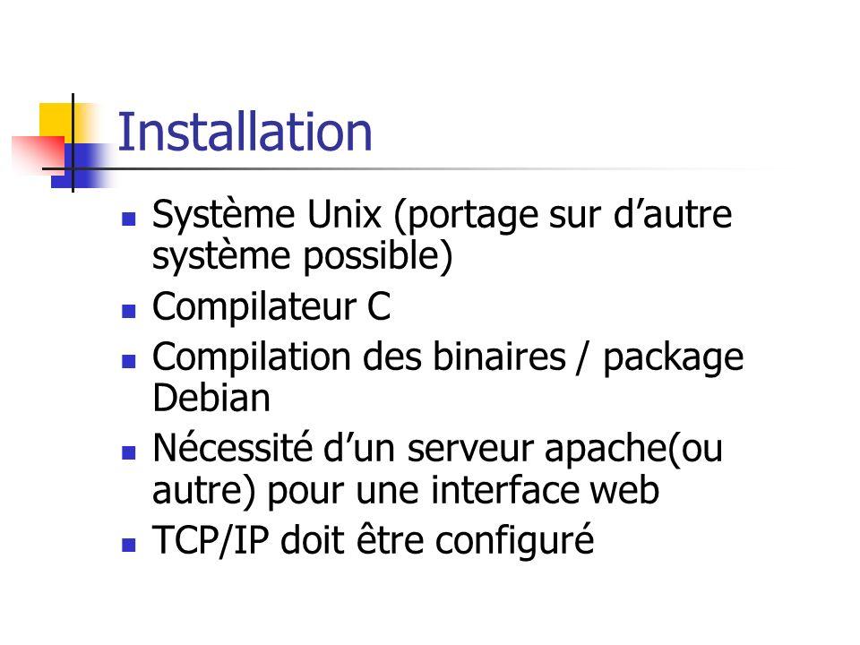 Installation Système Unix (portage sur dautre système possible) Compilateur C Compilation des binaires / package Debian Nécessité dun serveur apache(o