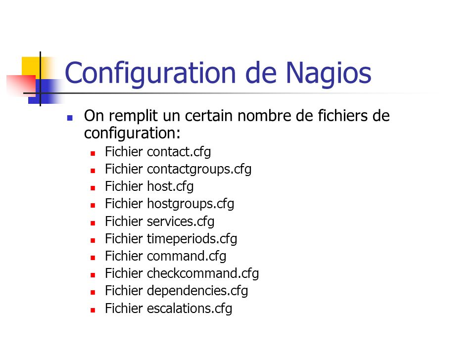 Configuration de Nagios On remplit un certain nombre de fichiers de configuration: Fichier contact.cfg Fichier contactgroups.cfg Fichier host.cfg Fichier hostgroups.cfg Fichier services.cfg Fichier timeperiods.cfg Fichier command.cfg Fichier checkcommand.cfg Fichier dependencies.cfg Fichier escalations.cfg
