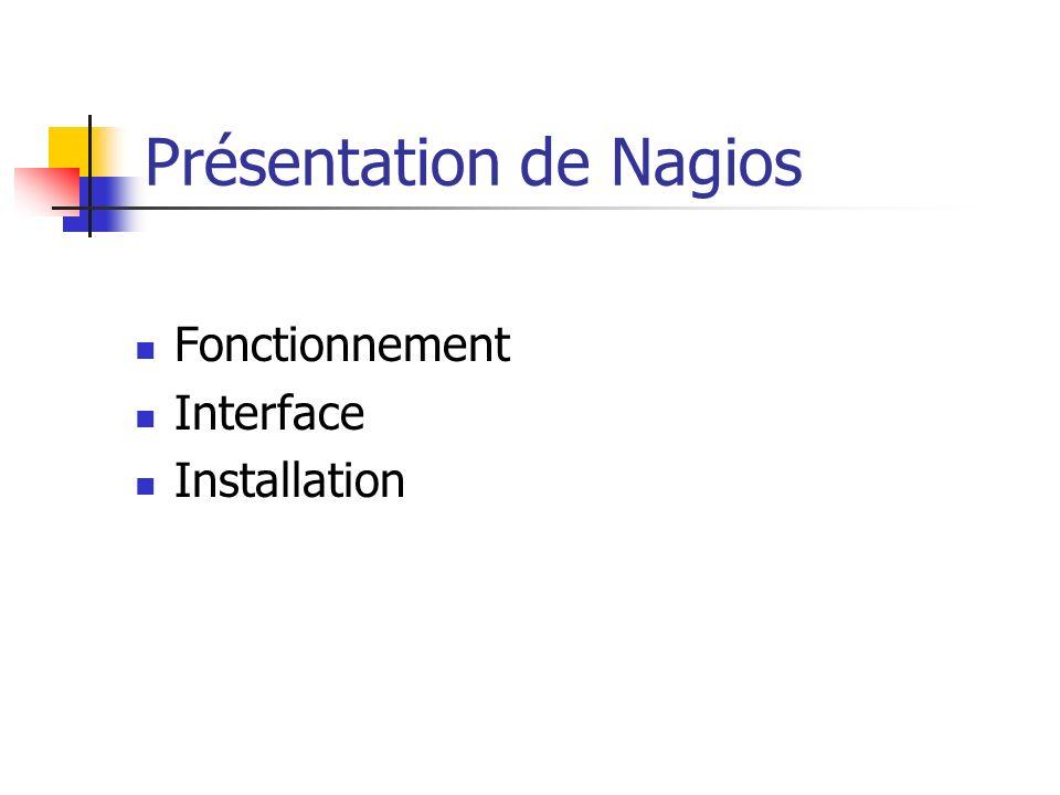 Présentation de Nagios Fonctionnement Interface Installation