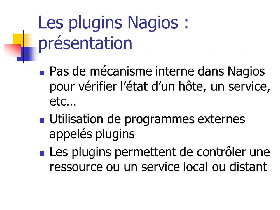 Les plugins Nagios : présentation Pas de mécanisme interne dans Nagios pour vérifier létat dun hôte, un service, etc… Utilisation de programmes extern