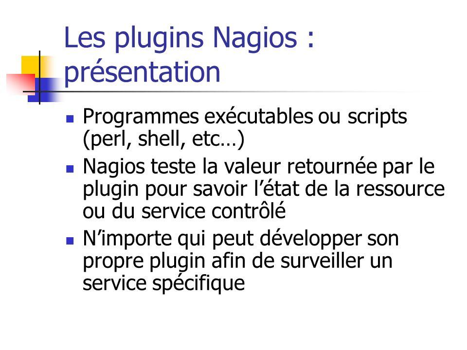 Programmes exécutables ou scripts (perl, shell, etc…) Nagios teste la valeur retournée par le plugin pour savoir létat de la ressource ou du service c