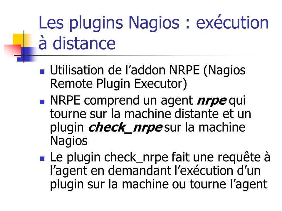 Les plugins Nagios : exécution à distance Utilisation de laddon NRPE (Nagios Remote Plugin Executor) NRPE comprend un agent nrpe qui tourne sur la mac