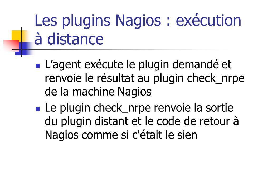 Les plugins Nagios : exécution à distance Lagent exécute le plugin demandé et renvoie le résultat au plugin check_nrpe de la machine Nagios Le plugin