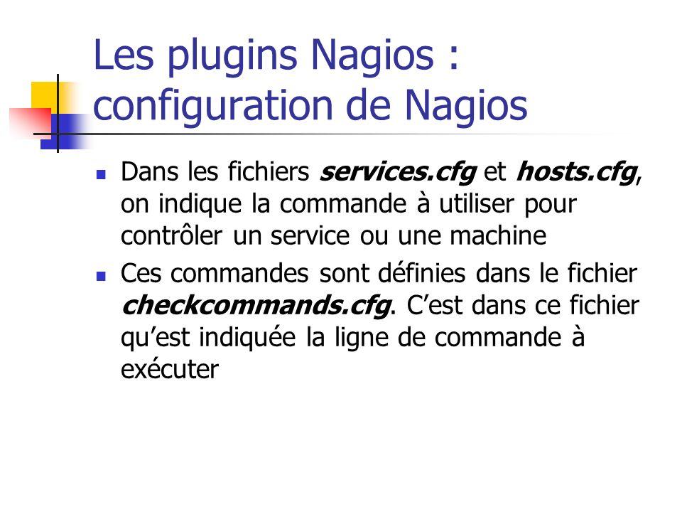 Les plugins Nagios : configuration de Nagios Dans les fichiers services.cfg et hosts.cfg, on indique la commande à utiliser pour contrôler un service
