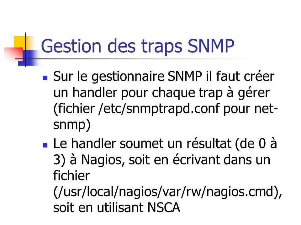 Gestion des traps SNMP Sur le gestionnaire SNMP il faut créer un handler pour chaque trap à gérer (fichier /etc/snmptrapd.conf pour net- snmp) Le hand