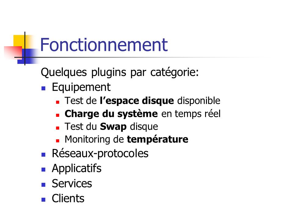 Quelques plugins par catégorie: Equipement Test de lespace disque disponible Charge du système en temps réel Test du Swap disque Monitoring de tempéra