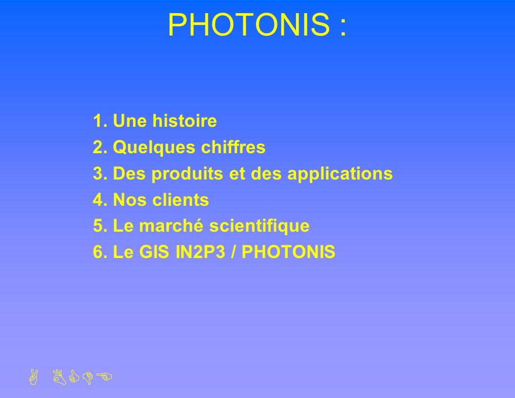 ABCDE PHOTONIS : 1. Une histoire 2. Quelques chiffres 3. Des produits et des applications 4. Nos clients 5. Le marché scientifique 6. Le GIS IN2P3 / P